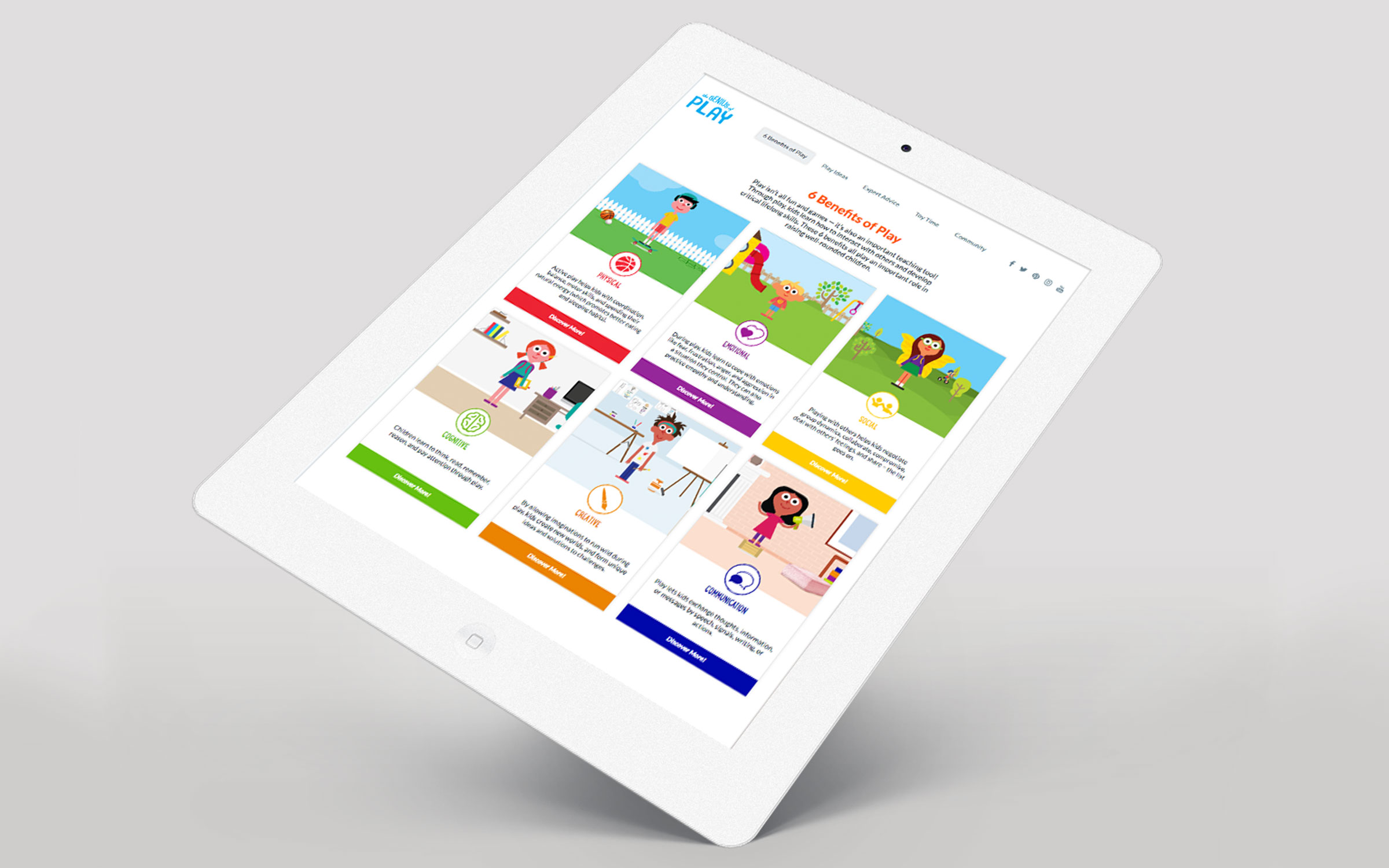 Genius of Play website on an iPad